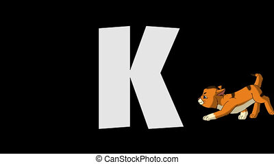 Letter K and Kitten (background) - Animated animal English...