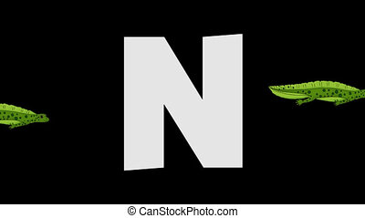 Letter N and Newt (background) - Animated animal English...