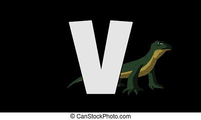 Letter V and Varanus (background) - Animated animal English...