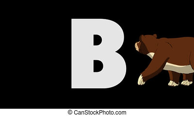 Letter B and Bear (background) - Animated animal English...