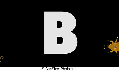 Letter B and Beetle (background) - Animated animal English...