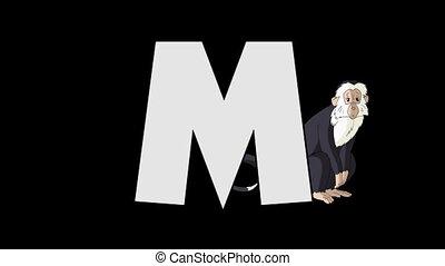 Letter M and Monkey (background) - Animated animal English...