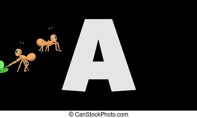 Letter A and Ant (background) - Animated animal English...