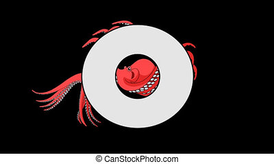 Letter O and Octopus (background) - Animated animal English...