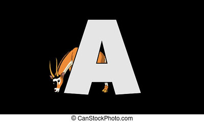 Letter A and Antelope (background) - Animated animal English...