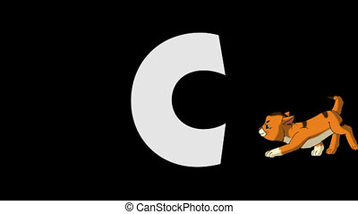 Letter C and Cat (background) - Animated animal English...