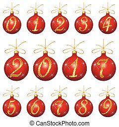 Christmas toys 2017, the red balls with gold numbers vector