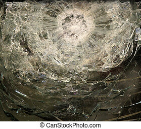 Bulletproof glass after the test - Sample of bulletproof...