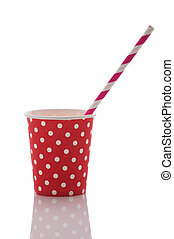 Paper cup with takeaway drink on a white background. Isolate