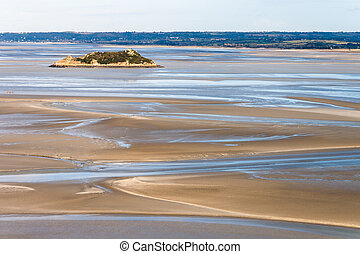 Sea coast at low tide, view from the top of the mount Saint...