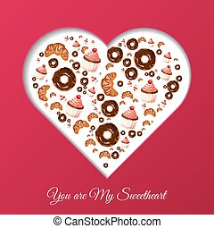 Valentines Day frame for your text. Sweets in the form of heart. Muffin, croissant, donut.