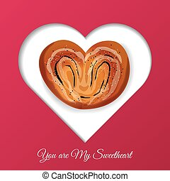 Valentines Day frame for your text. Sweets in the form of heart.