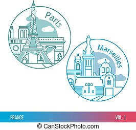 Biggest cities of France. Paris and Marseille. One line...