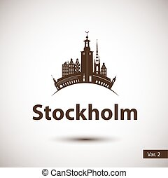 Vector silhouette of Stockholm, Sweden. City skyline. -...