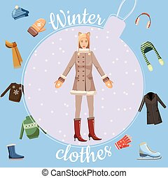 Winter clothes concept, cartoon style - Winter clothes...