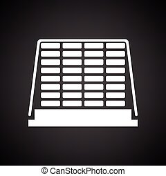 Icon of construction pallet . Black background with white....