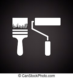 Icon of construction paint brushes. Black background with...