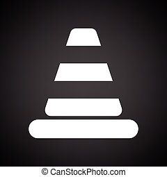 Icon of Traffic cone. Black background with white. Vector...