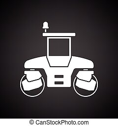 Icon of road roller. Black background with white. Vector...