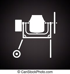Icon of Concrete mixer. Black background with white. Vector...