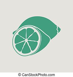 Lemon icon. Gray background with green. Vector illustration.