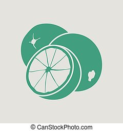 Orange icon. Gray background with green. Vector...