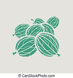 Gooseberry icon. Gray background with green. Vector...