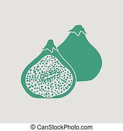 Fig fruit icon. Gray background with green. Vector...