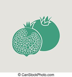 Pomegranate icon. Gray background with green. Vector...