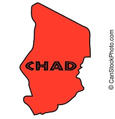 Chad Silhouette Map - Chad outline silhouette map in red...