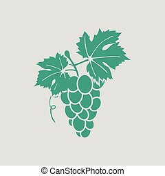 Grape icon. Gray background with green. Vector illustration.