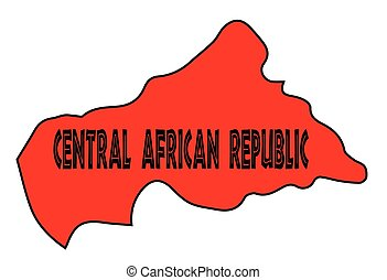 Central African Republic Silhouette Map - Central African...
