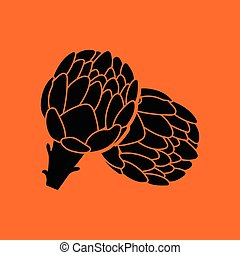 Artichoke icon. Orange background with black. Vector...