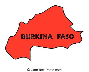 Burkina Faso Silhouette Map - Burkina Faso outline...