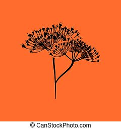 Dill icon. Orange background with black. Vector...