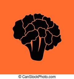 Cauliflower icon. Orange background with black. Vector...