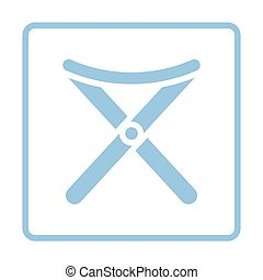 Icon of Fishing folding chair. Blue frame design. Vector...
