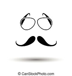 Glasses and mustache icon. White background with shadow...