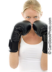 portrait of a young caucasian woman who does kick boxing...