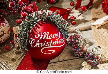 Merry Christmas red bauble - Close up red bauble with Merry...