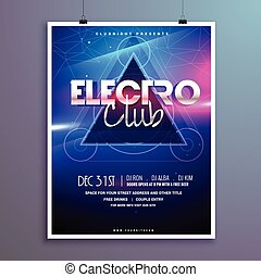 club music party flyer invitation card with shiny lights effect