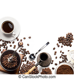 coffee attributes on a white background - Top view of...