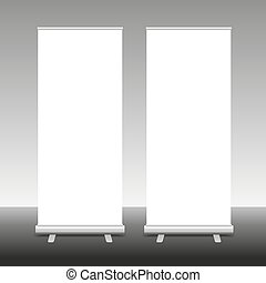 Roll Up Banner Stand, 3D, vector illustration