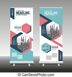 Roll Up Banner Stand Design with Abstract Geometric, vector illustration