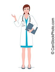 Female doctor with clipboard.eps - Female general...