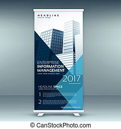 blue roll up display banner mockup template