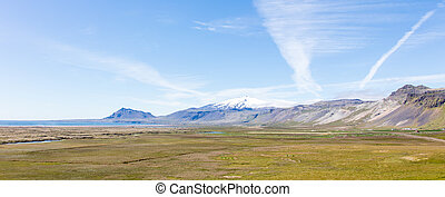 Snaefellsjokull volcano, in the Snaefellsnes peninsula, west...