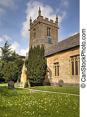 Cotswold Church - The old church at Stanway, Cotswolds,...