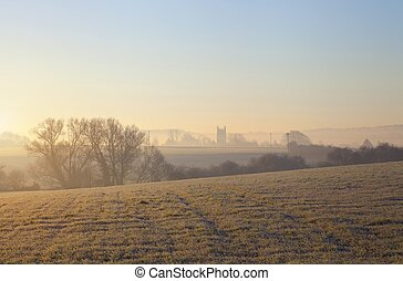 Cotswold landscape in winter - View towards Chipping Campden...
