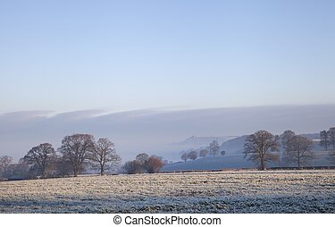 Cotswold landscape in winter - Winter in the Cotswolds,...